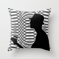 Bass Guitar Player Silho… Throw Pillow