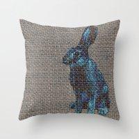 Blue Hare Throw Pillow