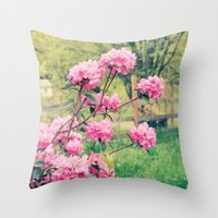 Pink Azalea Bushes Throw Pillow