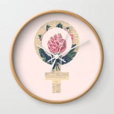 Respect, equality, women's liberation. Feminism Power Fist / Raised Fist Wall Clock