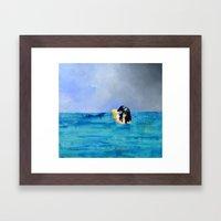 Girl Kissing Seal Framed Art Print