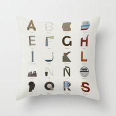 Alfabeto malagueño © Throw Pillow