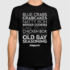 Baltimore — Delicious City Prints Mens Fitted Tee Black SMALL