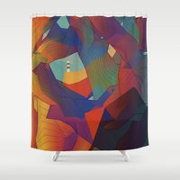 The Rocks by the Lighthouse Shower Curtain