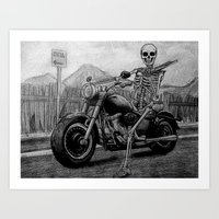Skeleton Fat Boy Art Print