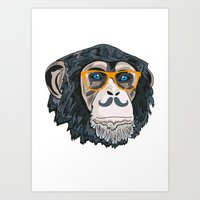 monkey Art Prints featuring Monkey! by  Steve Wade ( Swade)