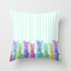 Pastel Jungle and Stripes Throw Pillow