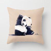 Hello Panda Throw Pillow