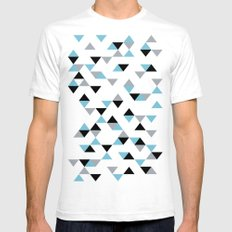 Triangles Ice Blue Mens Fitted Tee SMALL White