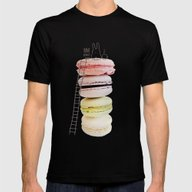 Bunny & Macarons Mens Fitted Tee Black SMALL