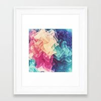 Geometry Triangle Wave Multicolor Mosaic Pattern - (HDR - Low Poly Art) - FULL Framed Art Print