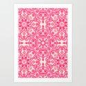 Hot Pink & Soft Cream Folk Art Pattern Art Print