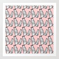 Milk bottle pastel pink  Art Print