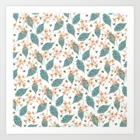 spots, leaves and bees Art Print