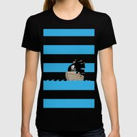 Pirates Love Stripes Womens Fitted Tee Black SMALL