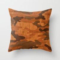 Modern Woodgrain Camoufl… Throw Pillow