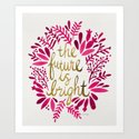 The Future is Bright – Pink & Gold Art Print