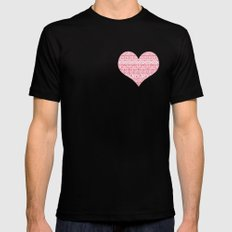 Patterned Valentine Mens Fitted Tee SMALL Black