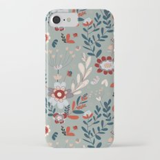 Deep Indigos & Gray Garden Hearts Slim Case iPhone 7