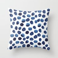 India - Blue Paint, Ink … Throw Pillow