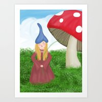 Gnome girl Art Print