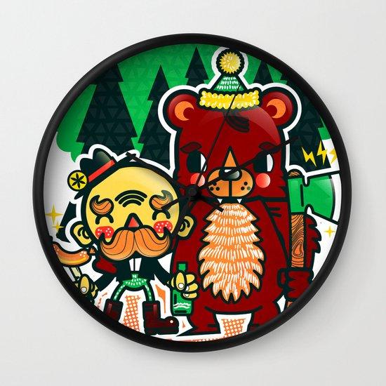 Lumberjack and Friend Wall Clock