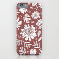 iPhone Cases featuring tropical flowers MARSALA by Je Suis un Lapin
