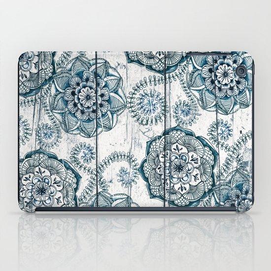 Navy Blue Floral Doodles on Wood iPad Case