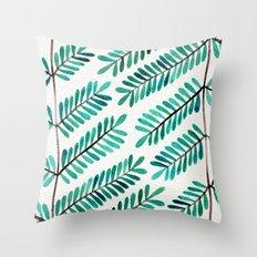Turquoise Leaflets Throw Pillow