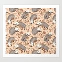 Opossum and Roses Art Print