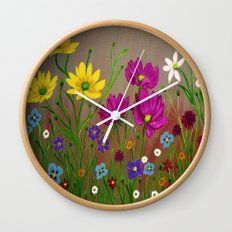 Spring Wild flowers  Wall Clock