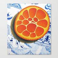 Orange on plate made where they speak Mandarin Canvas Print