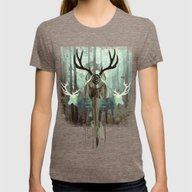 The Forest Spirits Womens Fitted Tee Tri-Coffee SMALL