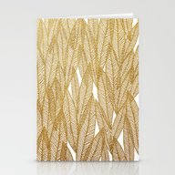 Gold & White Leaves Stationery Cards