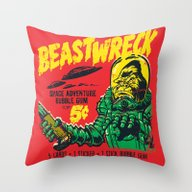 Throw Pillow featuring BEASTWRECK ATTACKS! by BeastWreck