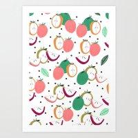 Apple print. illustration, art, print, design, pattern, fruit, food, fun, print design Art Print