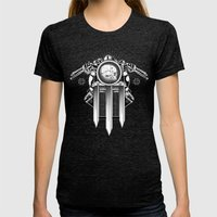 Keep Us on the Road Womens Fitted Tee Tri-Black SMALL