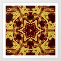 Star mandala in golden brown Art Print