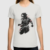 The Winter Soldier Womens Fitted Tee Silver SMALL