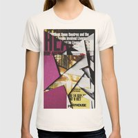 Cat Flips Through Magazine Womens Fitted Tee Natural SMALL