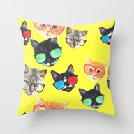 Throw Pillow featuring Crazy Kitties by Oh Monday
