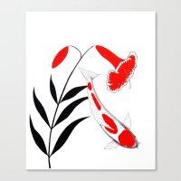 Japanese Koi Kohaku Lily Canvas Print