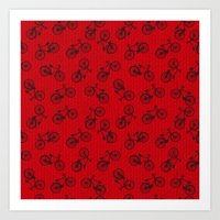 Red Bicycle Pattern Art Print