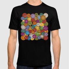 Buttons Mens Fitted Tee SMALL Black