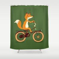 Little fox on the bike Shower Curtain