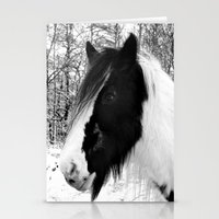 Horse. Black+White.Snow. Stationery Cards