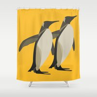 Penguins mate for life Shower Curtain