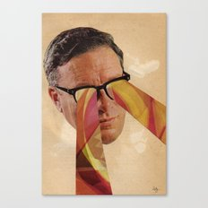 Vintage Business Man with Retro Pattern Laser Eyes Canvas Print
