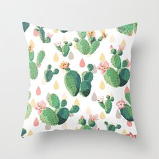 Cactus Drops Throw Pillow