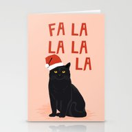 Black Cat Cute Fa La La … Stationery Cards